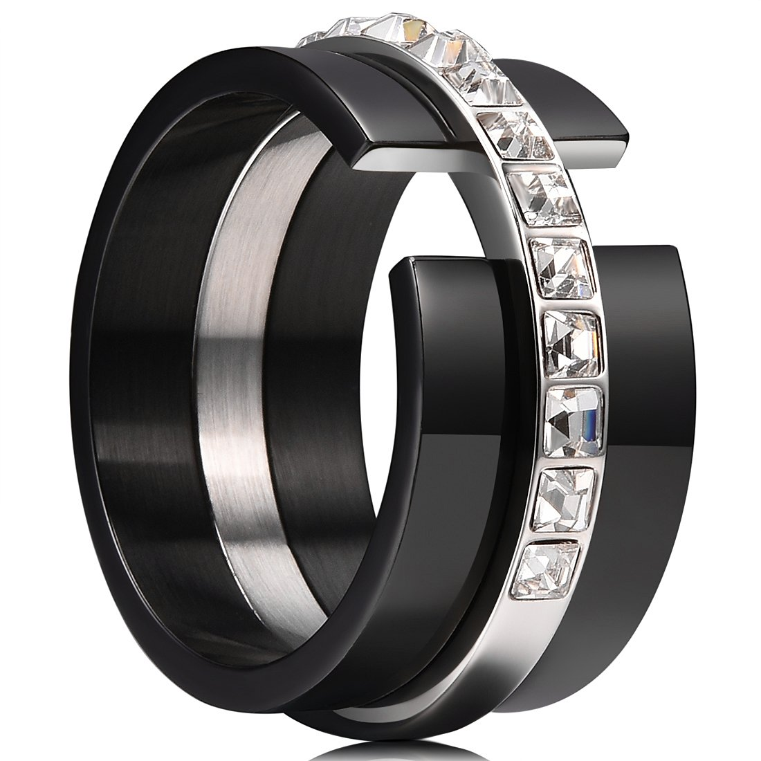 King Will 11mm 316LStainless Steel Wedding Band Polished Ring with 12 Black Square Transparent CZ Inlaid&Inner Surface Matte(10.5)