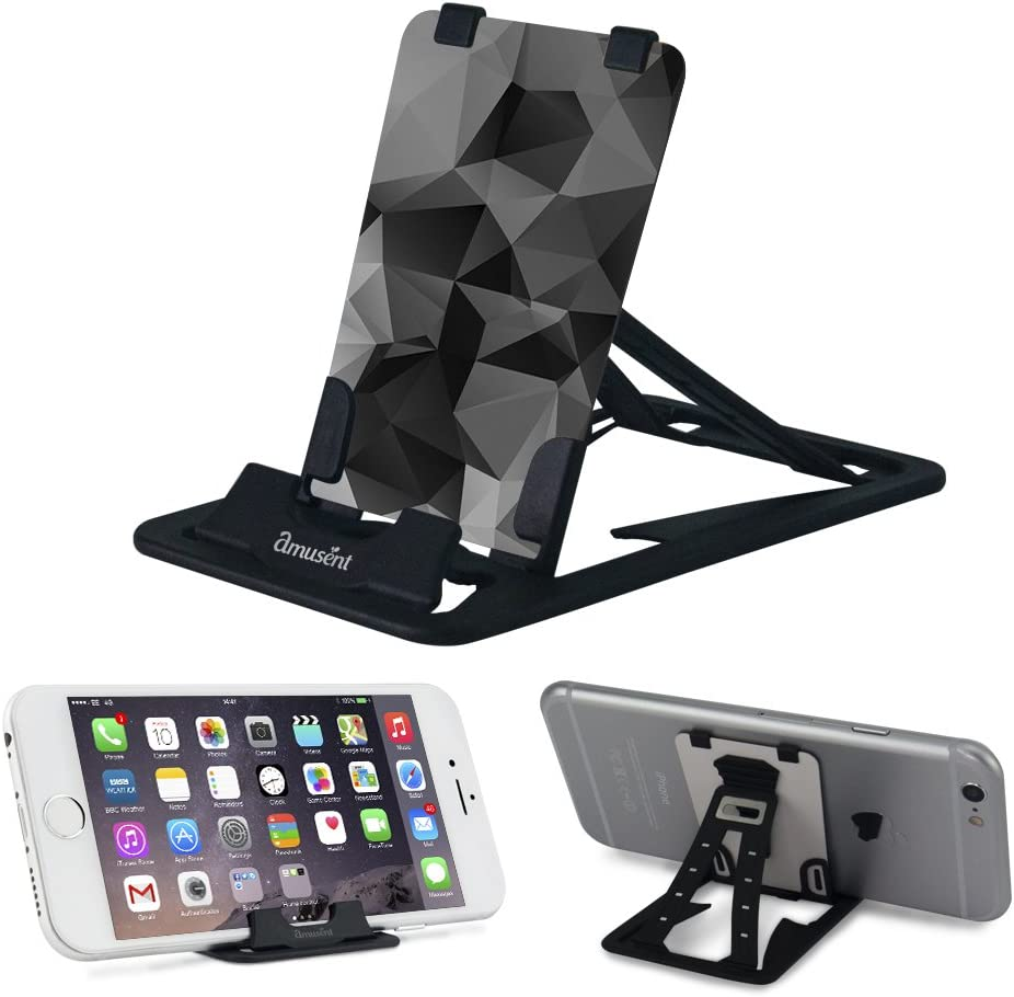 Pocket-Size Slim-Pro Stand by Amusent, Ultra Slim Portable Phone Stand, Foldable Kickstand, Sturdy, Adjustable, Multi-Angled, Compatible w/iPhone, Smartphones & Tablets
