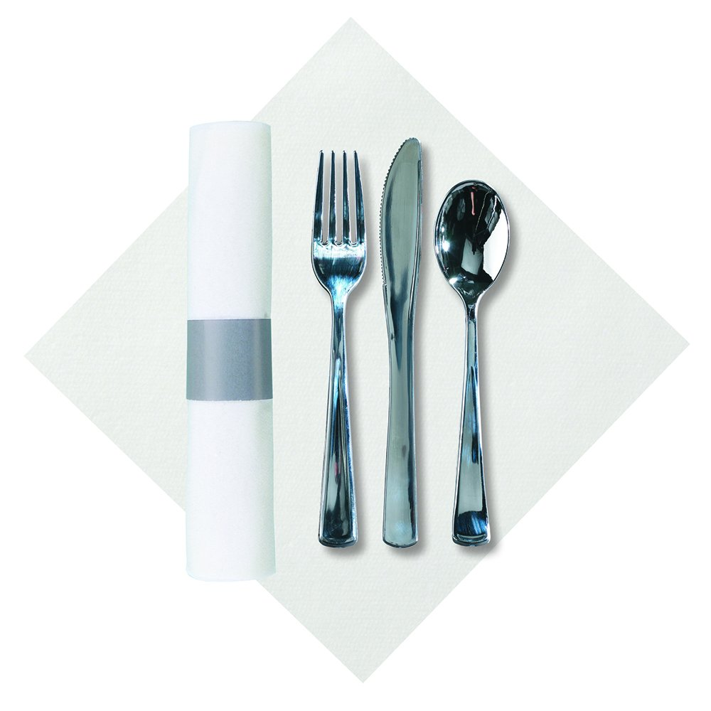 Hoffmaster 119956 Silver Metallic Cater Wrap Pre-Rolled Linen-Like Napkin with Heavyweight Knife, Fork and Spoon Set (Each case has 100 Pieces) (Pack of 100) by Hoffmaster