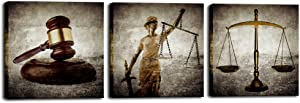 Biuteawal - Legal Wall Art Law Firm Scales Justice Hammer Picture Canvas Prints Justitia Lady Poster Painting Vintage Artwork for Court Home Office Study Room Decoration Ready to Hang