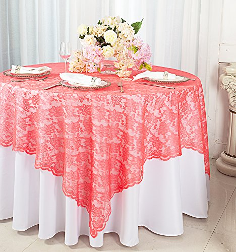 Wedding Linens Inc.. 72 in x 72 in Lace Table Overlays, Lace Tablecloths Square, Lace Table Overlay Linens, Lace Table Toppers for Wedding Decorations, Events Banquet Party Supplies - Coral