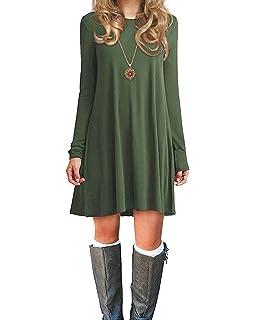 631ad597a0995 Womens Basic Loose T-Shirt Plain Long Sleeve Flowy Swing Dress Simple Tunic