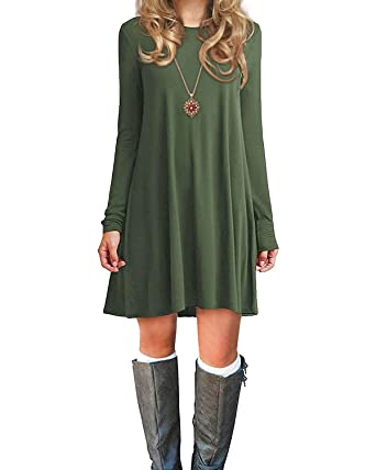 e8f5a569079a Women's Long Sleeve Loose Dress for Fall Winter Casual Plain Basic Simple T-Shirt  Dresses