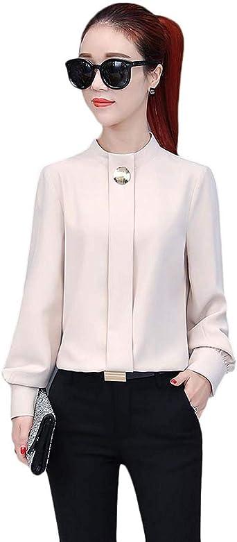 Mujeres De Manga Larga Camisa Suelta Cuello De Estilo Simple Gasa Moda Linterna Gasa Blusa Elegante Negocio De Moda Camisa De La Oficina Tops: Amazon.es: Ropa y accesorios