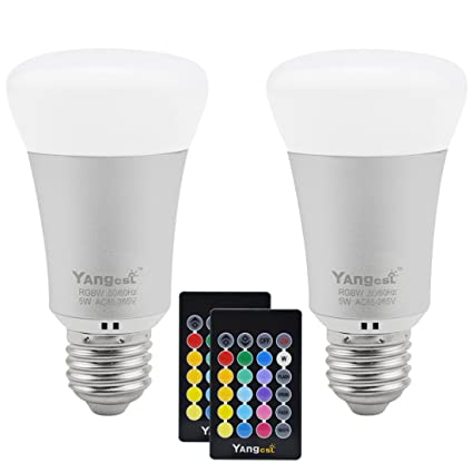 Yangcsl 5W A19 Remote Controlled Color Changing LED Light Bulbs, RGB ...