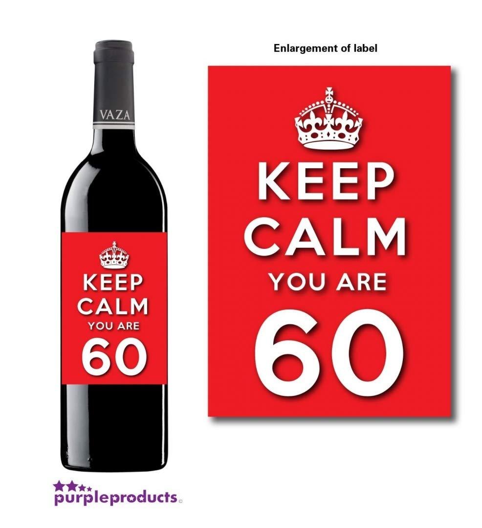Keep Calm Rouge, vous êtes 60 Happy 60th Birthday cadeau d'anniversaire pour bouteille de vin-Pour homme et femme.
