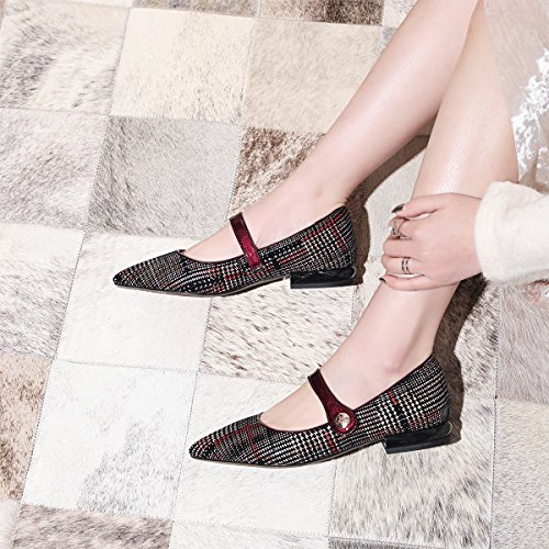 Heel Leather Shoes Marry Partten Low Wine Pump Genuine Thick Verocara Pointed Women's Plaid Jane Toe Evening agx1PWS