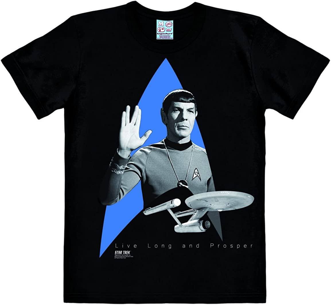 Spock Enterprise T-Shirt Uomo Design Originale Concesso su Licenza Logoshirt Star Trek Nero USS Enterprise Logo