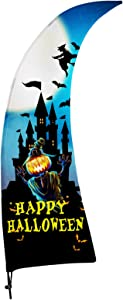 FSFLAG Halloween Feather Flag with Pole Kit - Happy Halloween Yard Flag Party Decorations - Halloween Flags for Garden Store Business
