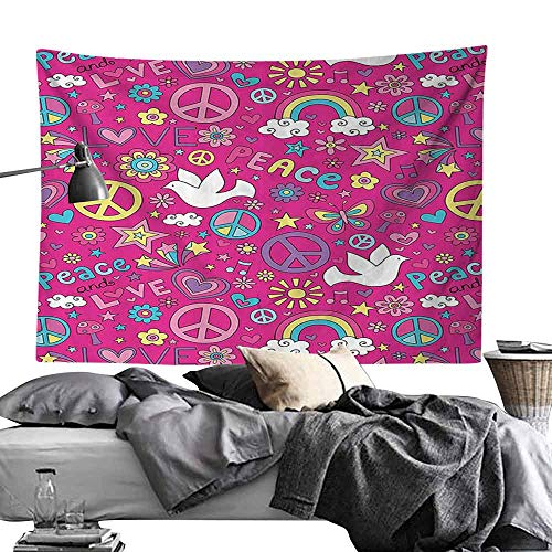 Wall Tapestries 1960s Decorations Collection Sunshine Birds Mushroom Acoustic Shooting Star Creative Design Bedroom Home Decor W90 x L59 Magenta Pink Yellow Blue -