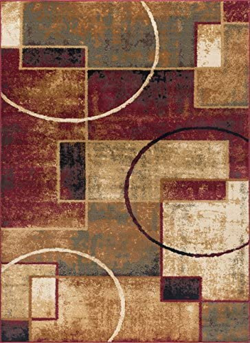 Andrew Contemporary Abstract Multi-Color Rectangle Area Rug, 8 x 10