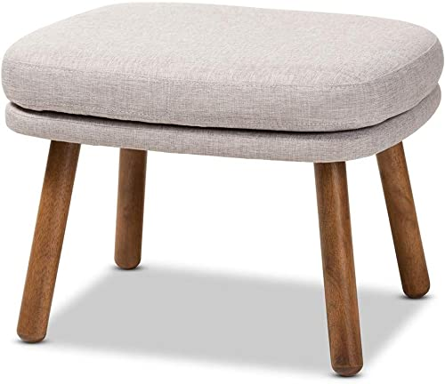 Baxton Studio Lovise Mid-Century Modern Greyish Beige Fabric Upholstered Walnut Brown Finished Wood Ottoman