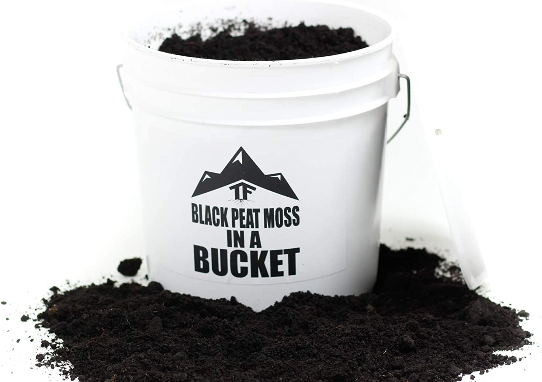 Black Peat Moss in a Bucket - by TERRAFIRMA - 1 Gallon - Rich Black Peat Moss - Potting Soil/Garden Soil Amendment - Soil additive - Soil Amendment
