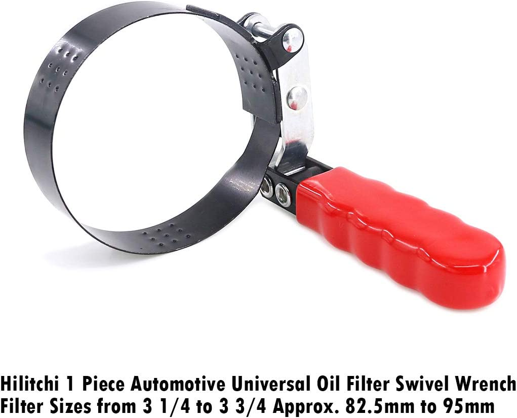 Hilitchi 1 Piece Automotive Universal Oil Filter Swivel Wrench Filter Sizes from 3 1//4 to 3 3//4 Approx 82.5mm to 95mm