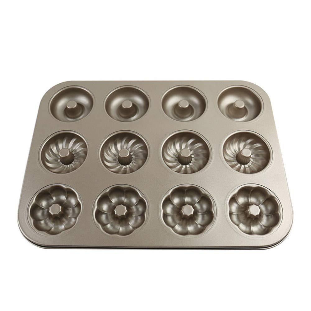 12-Cavity Donut Baking Pans Heavy-Duty Carbon Steel Donut Barking Pans No-stick Barking Mold Pans (3 shape)