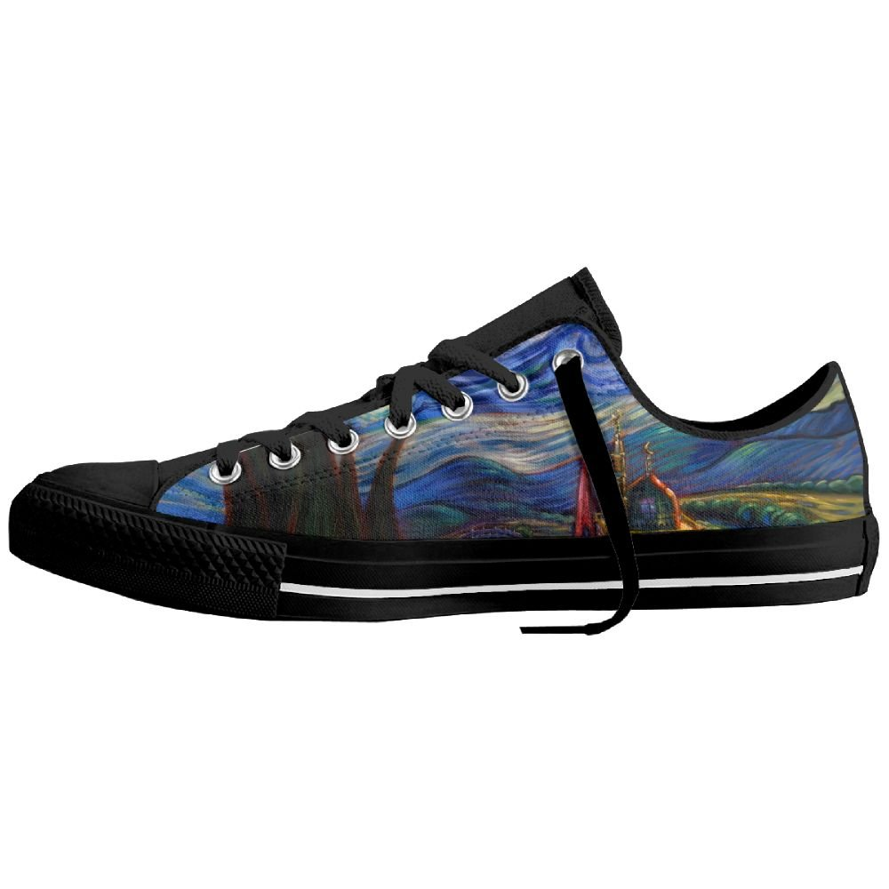 Starry Night Ties Art Vincent Van Gogh Fashion Canvas Shoes Sneaker Lace Ups Low Top Casual Trainers For Unisex