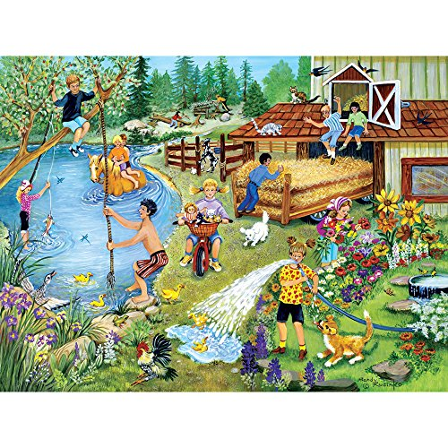 Bits and Pieces - 500 Piece Jigsaw Puzzle for Adults - Summer Fun On The Farm 500 - 500 pc Jigsaw by Artist Sandy Rusinko