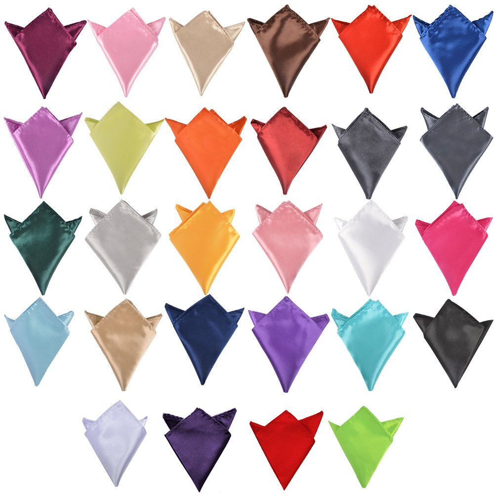 Alotpower Mens Pocket Squares Wedding Party Solid Color Handkerchief,28 Pack