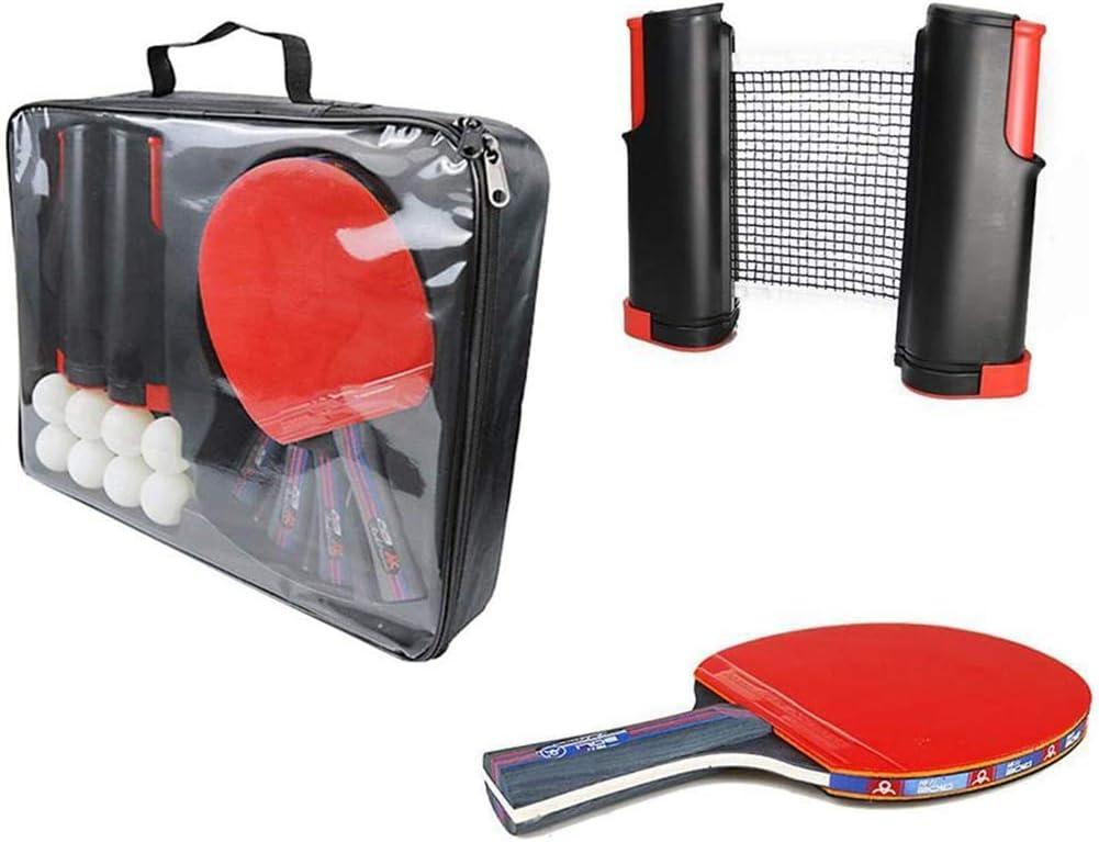 Portátil Conjunto de ping-pong,raqueta de tenis mesa se establece con la bolsa de tenis de mesa Netzeund para un fácil montaje en tableros de la mesa murciélagos de tenis de mesa y pelotas para
