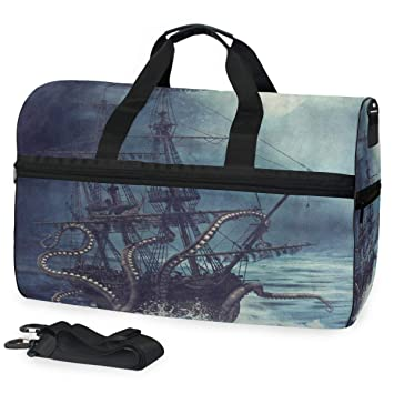 Gym Bag Sports Holdall Black And White Octopus Canvas Shoulder Bag Overnight Travel Bag for Men and Women