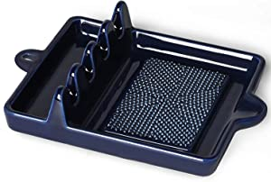 Porcelain 2-in-1 Spoon Rest Ginger plate,Ceramic Spoon Holder Can Hold Multiple Tableware,7.5 inch (Navy)