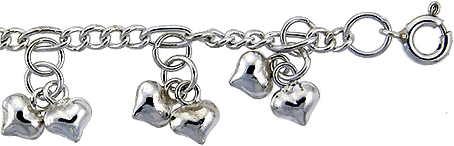 fits 9-10 inch Ankles Sterling Silver Anklet with Hearts