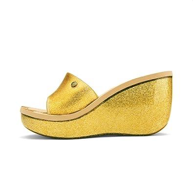 73df876096c Chemistry Kay Womens Slip-on Jelly Wedge Platform Sandal Gold (5 B(M