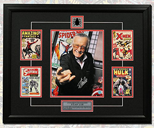 Stan Lee Autographed Comic Book Covers Web Slinger 25x31 Custom Wood Frame from Autograph Authentic