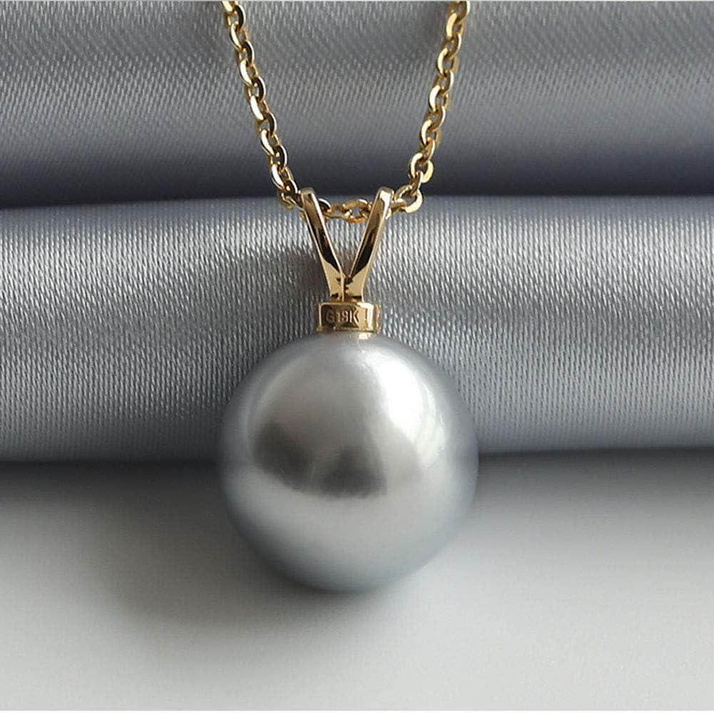 Fashion Jewelry@ Mujer Gris Perlas Original Collar Oro de 18 Quilates Partícula Grande 10-11mm Perla Colgante Plata de Ley 925 45cm Cadena, Moda Joyería Perfecto Regalo Madre