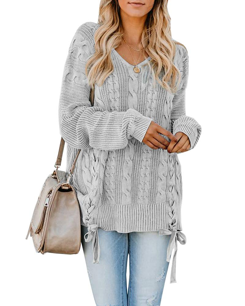 Womens Pullover Sweaters Plus Size Cable Knit V Neck Lace Up Long Sleeve Fall Jumper Tops Grey