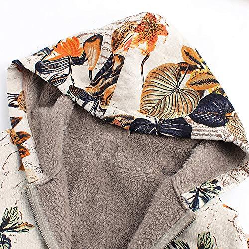 Plus Vjgoal Taille Vintage Sweat Manteaux Épaissir Imprimé Poches Outwear Hiver Mode Casual Floral Capuche À Chaud Great Orange Femmes 1qqrARxwE