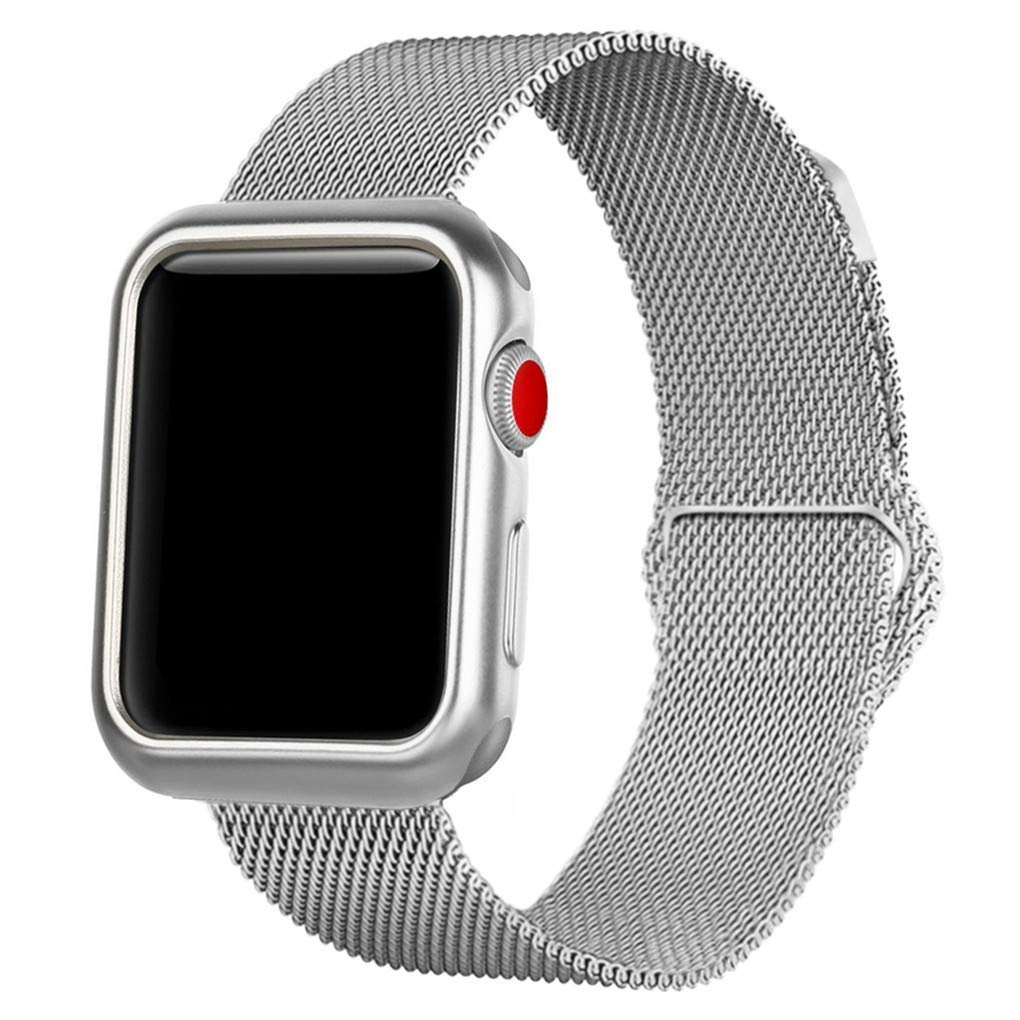 OROBAY Compatible with iWatch Band Case 38mm, Stainless Steel Magnetic Mesh Milanese Loop Band with Soft TPU Case Compatible with Apple Watch Series 3 Series 2 Series 1, Silver by OROBAY (Image #3)