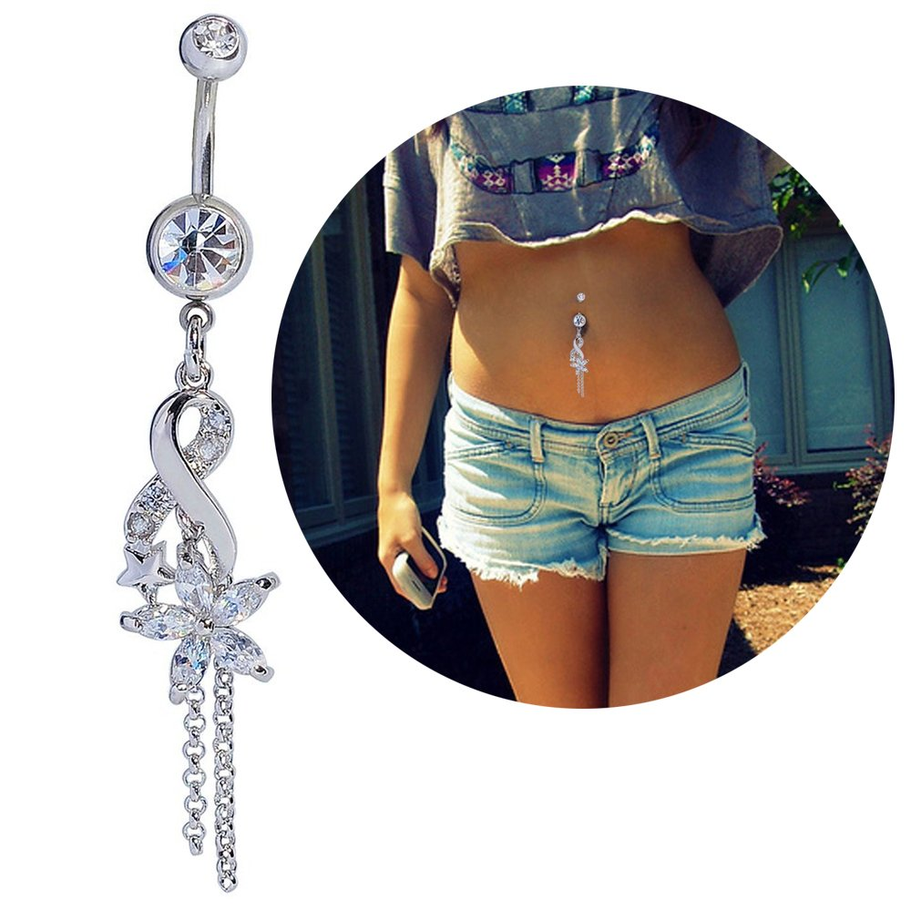 Mutreso Belly Button Navel Ring Surgical Steel Crystal Flower Dangle Curved Barbell Bananabell Piercing Jewelry