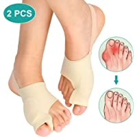 Gel Bunion Corrector Toe Straightener 1 Pair Set, Big Toe Splint Protectors, Support Sleeve with Silicone Separators and Pad for Hallux Valgus Pain Relief Day and Night Time (L)