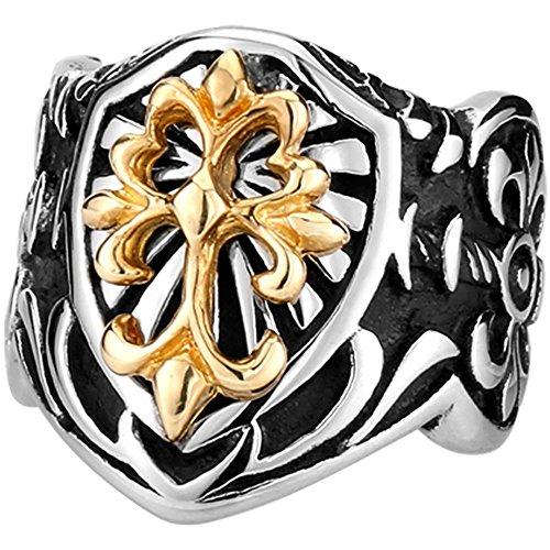 Men's Vintage Gothic Biker Celtic Cross Fleur De Lis Shield Stainless Steel Ring Band Silver Black Gold Size 7