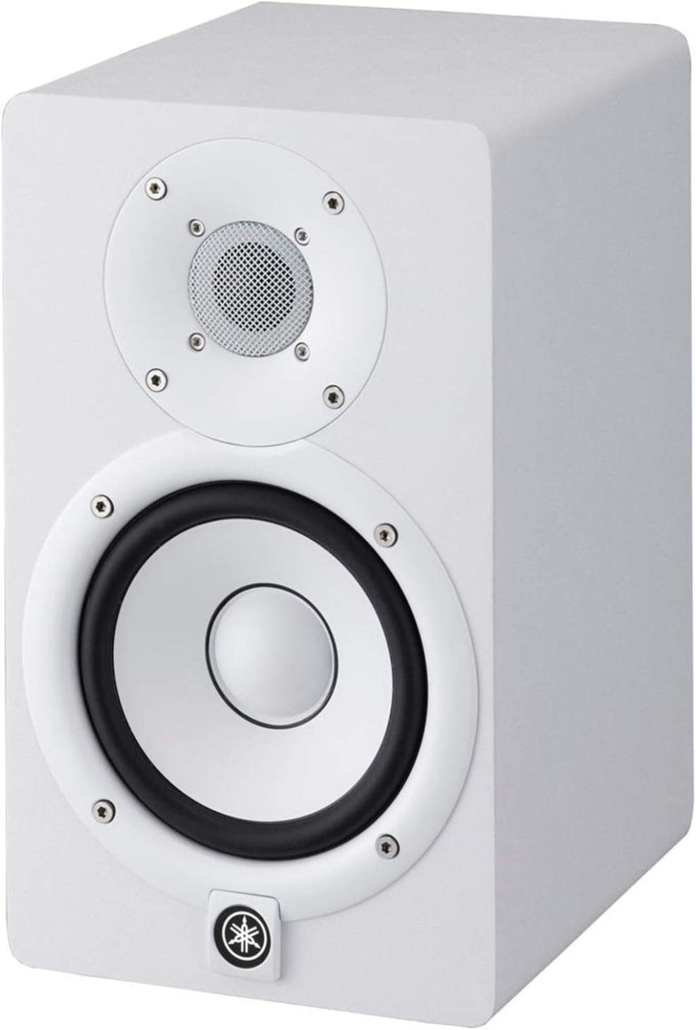 White Pair of Yamaha HS5W Powered Studio Monitors w//MoPads and 2 Cables