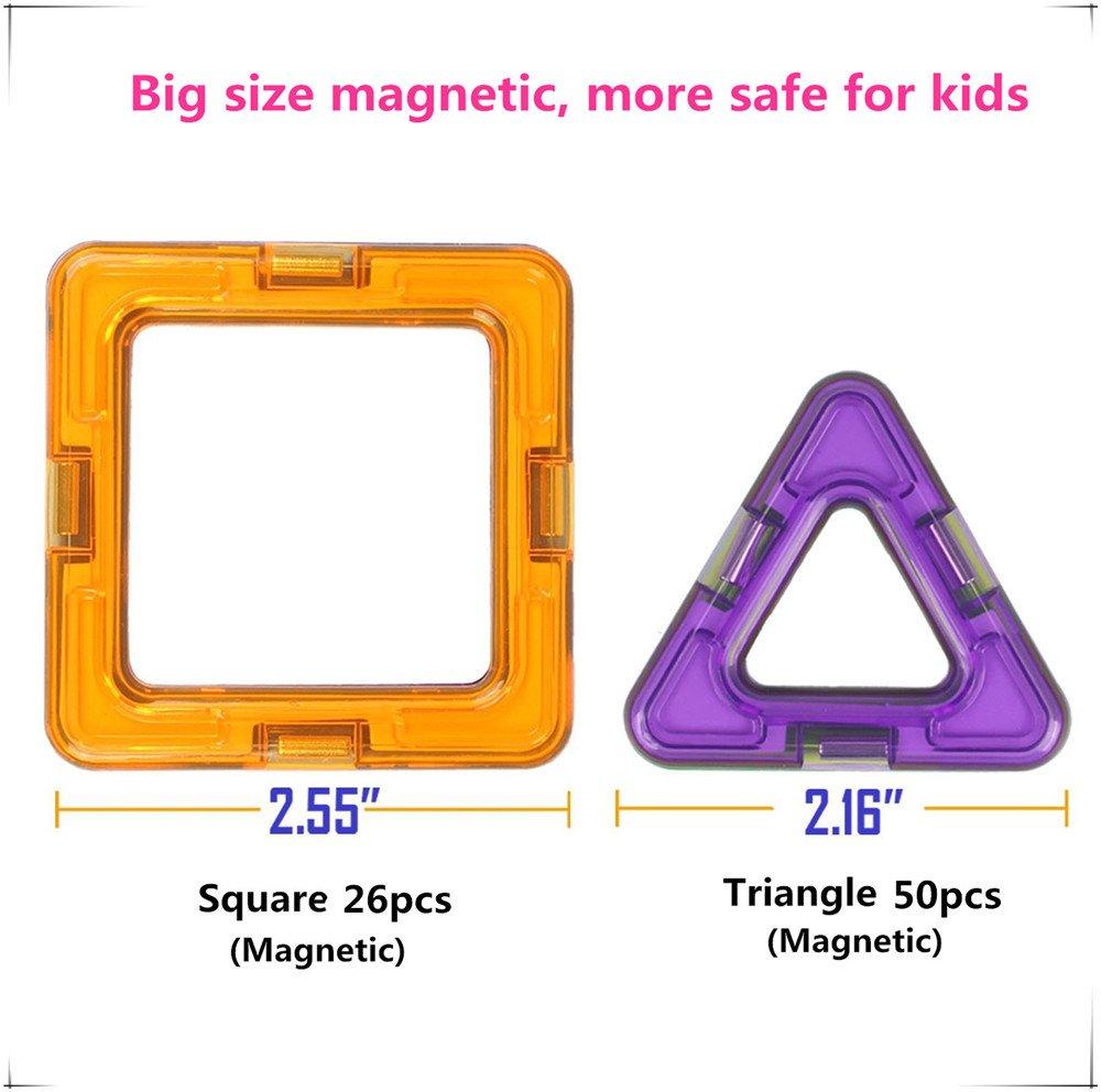 Morkka Magnetic Building Blocks 46 Pieces Magnets Building Kit 3D Rainbow Color Educational Toy Set Creative Toys Kids Toddler Girl Boy Car Ferris Wheel Great