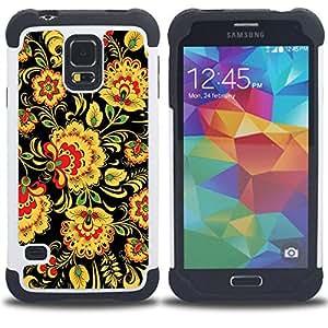 For Samsung Galaxy S5 I9600 G9009 G9008V - Floral Pattern Wallpaper Art Flowers Yellow /[Hybrid 3 en 1 Impacto resistente a prueba de golpes de protecci????n] de silicona y pl????stico Def/ - Super Marle