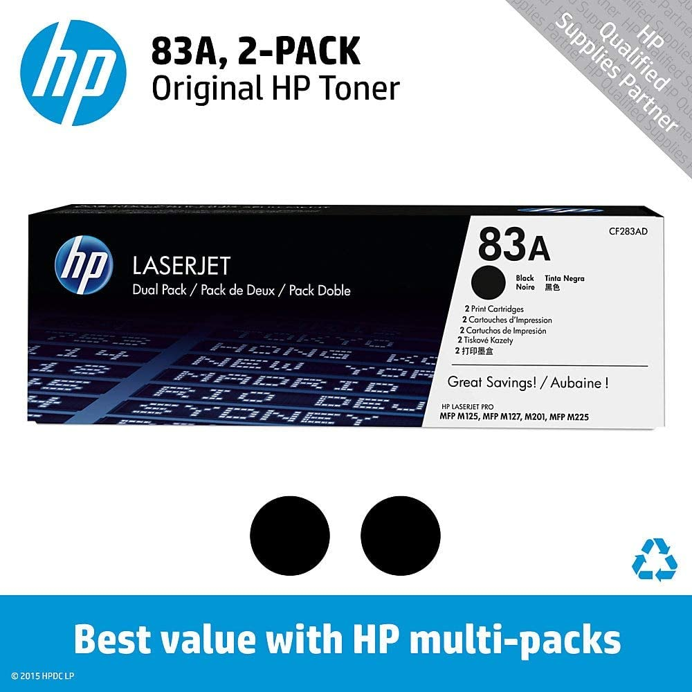 Pack of 2 New Genuine Sealed Dual//Double HP 83A CF283AD Black Toner Toners