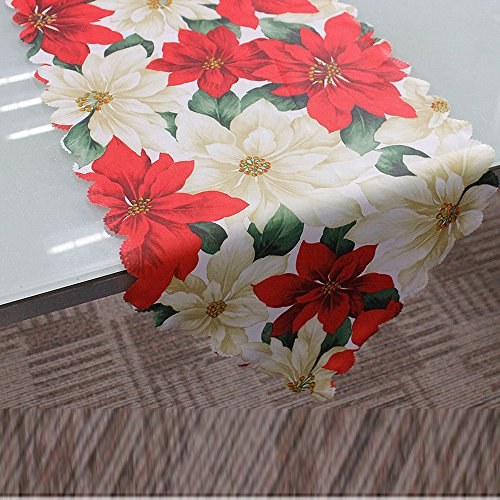 Ximandi Clearance,Christmas Poinsettia Table Runner Linens, Decorative Christmas Tapestry Table Runner, 13