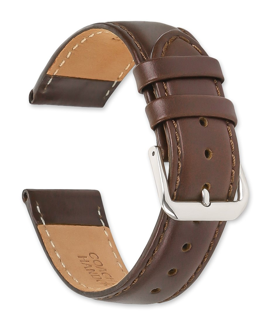 Coach Leather Watch Band (Silver & Gold Buckle) - Brown 16mm