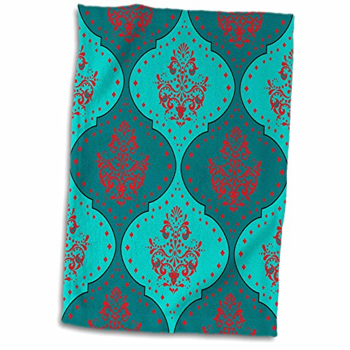 3dRose Dooni Designs Damask Patterns - Teal Aqua Red White Henna Style Modern Trendy Damask - 12x18 Hand Towel (twl_117552_1)