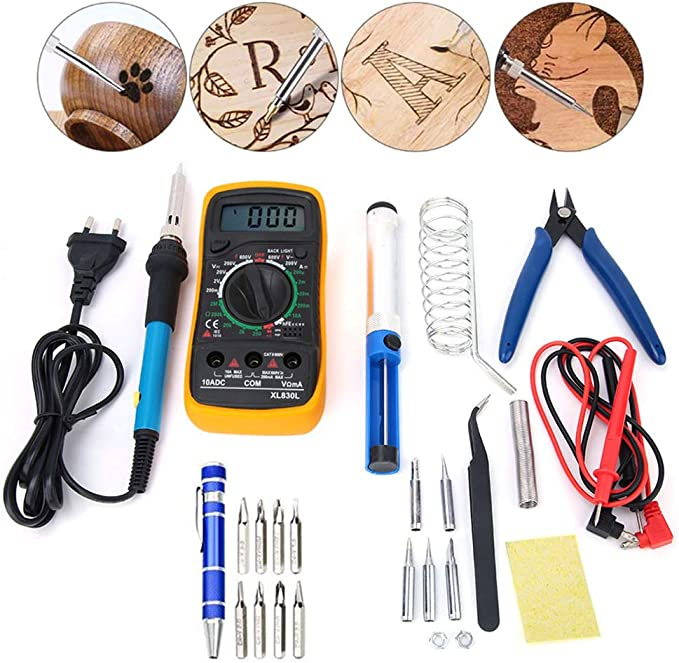 Prise UE 220V Fer /à souder /électrique r/églable en temp/érature de 60W avec Outil de multim/ètre 830L avec 5pcs Outil de r/éparation de Soudure HEEPDD 16pcs kit de Fer /à souder