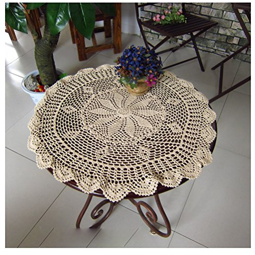 WCHUANG Vintag Crocheted Doilies Round Lace Tea Furniture Sofa Cover Placemats CottonTablecloths (29.9