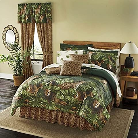 8 Piece Green Brown Cheetah Comforter Queen Set, Exotic Animal Bedding Print Jungle Zoo Wild Safari Themed Pattern African Africa Design Nature, Cat Lover Cotton Polyester