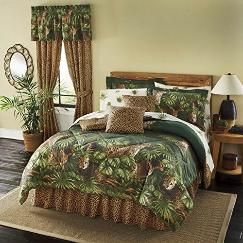 8 Piece Green Brown Cheetah Comforter Full Set