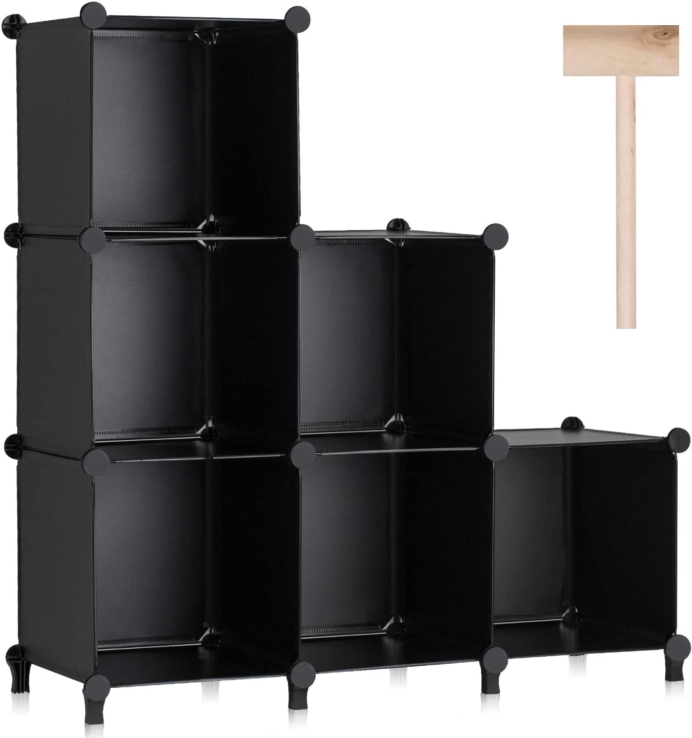 Puroma Cube Storage Organizer 6-Cube Closet Storage Shelves with Rubber Hammer DIY Closet Cabinet Bookshelf Plastic Square Organizer Shelving for Home, Office, Bedroom - Black
