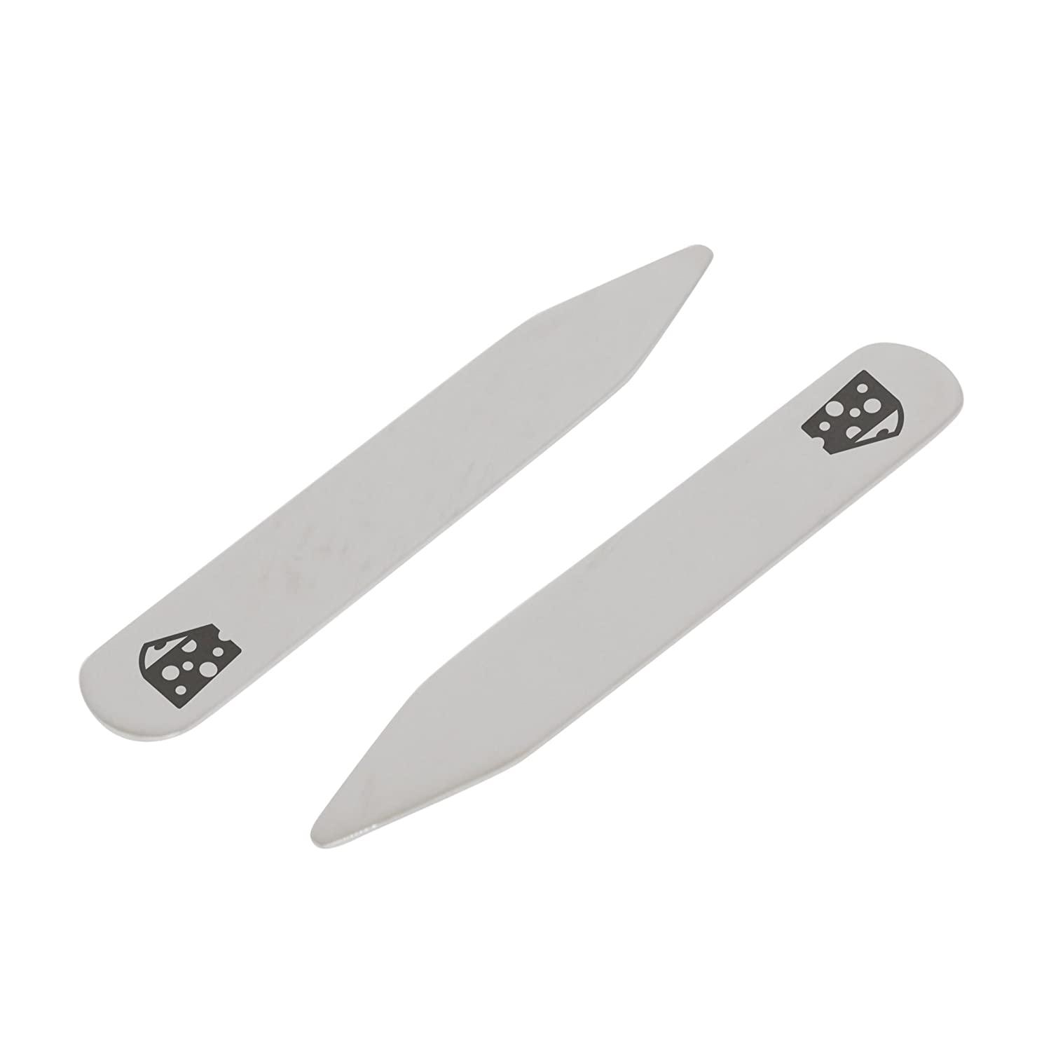 2.5 Inch Metal Collar Stiffeners Made In USA MODERN GOODS SHOP Stainless Steel Collar Stays With Laser Engraved Cheese Design