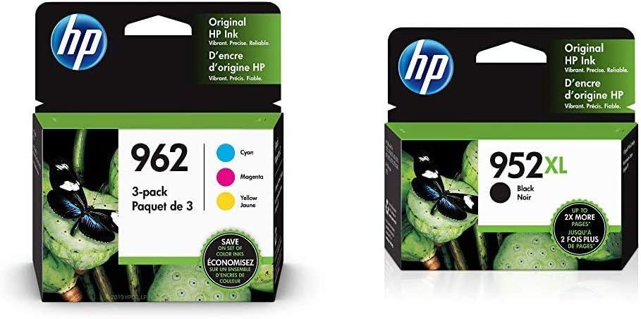 HP 962 | 3 Ink Cartridges | Cyan, Magenta, Yellow | 3HZ96AN, 3HZ97AN, 3HZ98AN & 952XL | Ink Cartridge | Black | F6U19AN