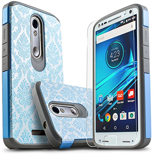 Droid Turbo 2 Case, Starshop [Shock Absorption] Hybrid Dual Layers Rugged Impact Advanced Armor Phone Cover +[Premium HD Screen Protector Included] For Motorola Droid Turbo 2 (Light Blue Lace)